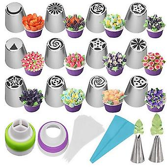 27 Piece set of stainless steel  tulip icing piping nozzles and reusable piping bag