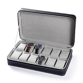 Portable Travel Watch Zipper Case Leather Storage Box