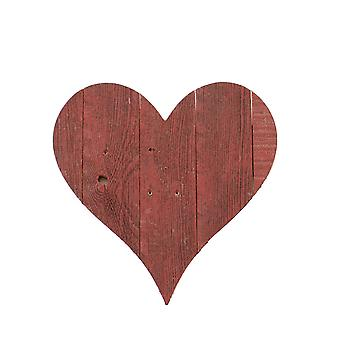 """12"""" Farmhouse Red Wooden Heart"""
