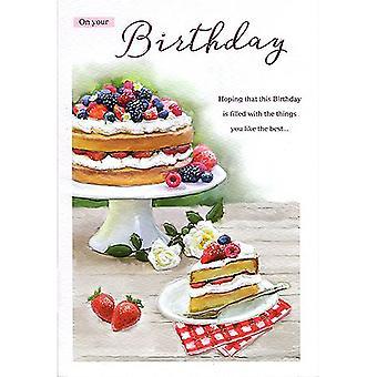 ICG Ltd Open Birthday Card Essence Range - Slice Of Cake