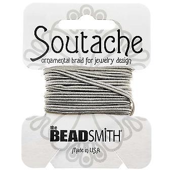 و Beadsmith Soutache مضفر الحبل 3mm واسعة -- رمادي فضي (بطاقة 3 ياردة)