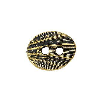 Pewter-painike, Soikea Simpukka 13,5x17mm, Antiikkikultapinnoitettu, 1 kpl, By TierraCast