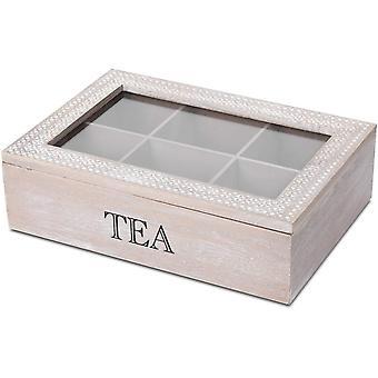 FengChun Aufbewahrungsbox Tea mit Sichtfenster und 6 Fächer, 24x17x7cm, Natur/Weiß,