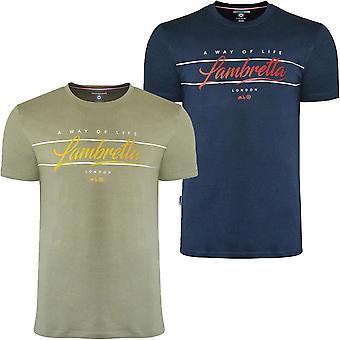 Lambretta Mens Script Casual Cotton Crew Neck Graphic T-Shirt Top Tee