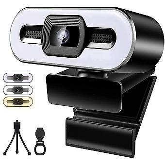 FengChun Webcam mit Ringlichtmikrofon, HD 1080P USB Streaming Webcam für PC/Laptop/Desktop,