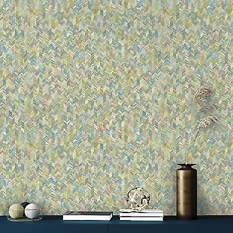Amazonia Saram Chevron Coral Blue Wallpaper Holden 91292