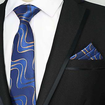 Dark blue & bronze swirl pattern pocket square & tie