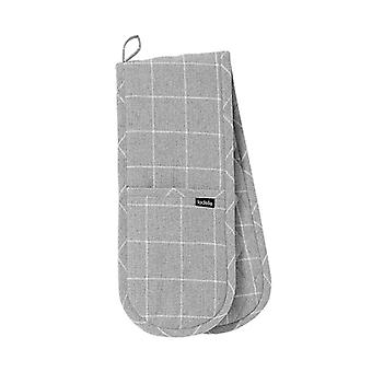 Ladelle Eco Check Double Oven Glove, Grey
