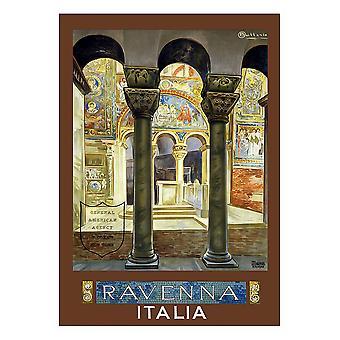 Vintage Tourist Plakat Ravenna - Lærred Print, Væg Kunst Decor