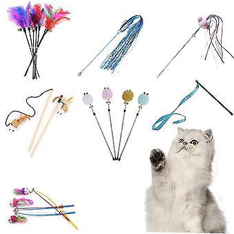 uusi 4 hauska kissan lelu kissanpentu interaktiivinen stick kalastus sauva peli sauva sulka lelu sm39265