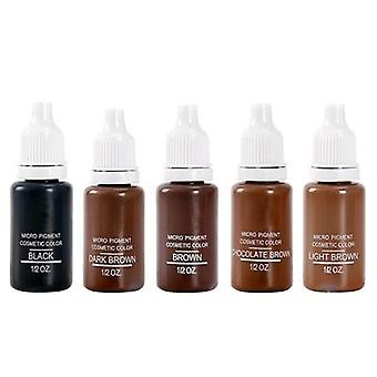 5 Bottle 1/2 Oz Permanent Makeup Micro Pigments Set Brown Mixed Tattoo Ink