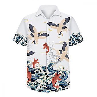 ユンユン メン&アポス;s クレーンカープウェーブ 3D半袖シャツ
