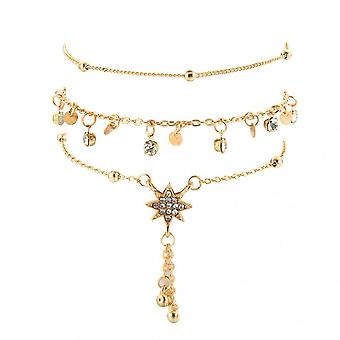 Fashion Rice Beads Beaded Six-pointed Star Pendant Alloy Anklet 3 Piece Set