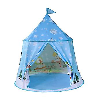 Boys Playing Foldable Tent Kids Tent House Indian Indoor Snowman Castle Toykids Tent House Blue