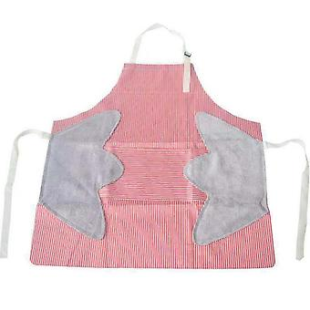 Swotgdoby Red Striped Hand-wiping Waterproof Apron, For Kitchen & Housework