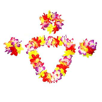 Hawaiian Flower Garland Set, Hula Ball Beach Party Accessories, Universal For Adults And Children, 4 Pieces