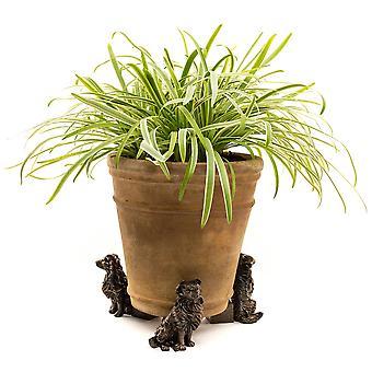 Potty Feet Border Collie Themed Plant Pot Feet Antique Bronze Color Set of 3