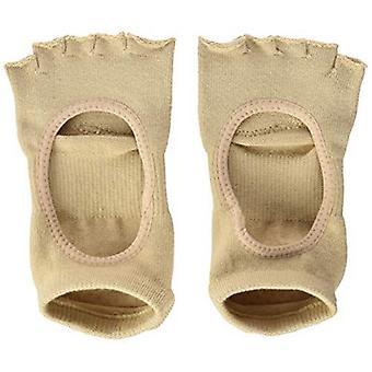 Toesox Half Toe Plie Dance Inspired Grip Socks With Leather Pad - Nude