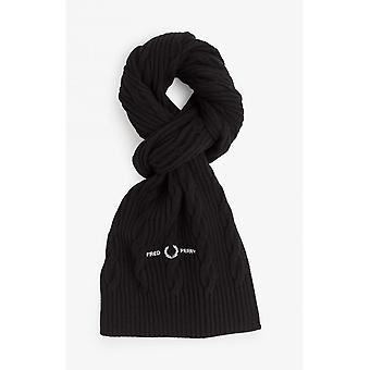Fred Perry Cable Branded Scarf (Black)