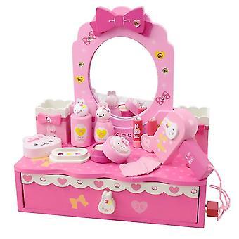barn tre dresser leketøy - rosa imitasjon make-up bord sett ins