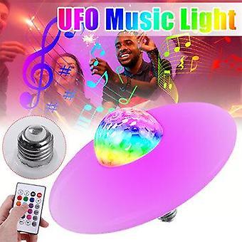 18W e27 bluetooth rgb led light bulb ufo music garage lamp remote control ktv party lighting 85-265v
