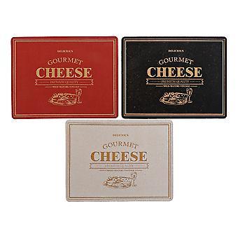 Place mat DKD Home Decor Cheese White Black Red Cork (3 pcs) (40 x 30 x 0.5 cm)