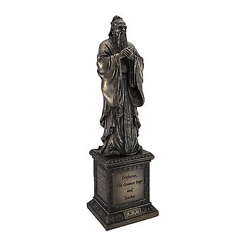 Chinese Philosopher Confucius on Engraved Pedestal Figure