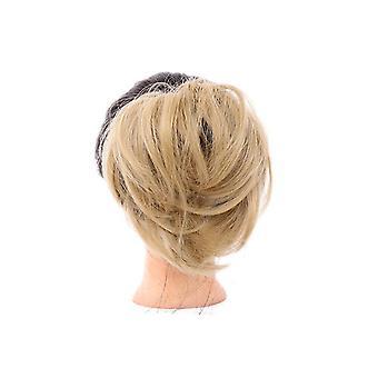 2 Stück Damenhaar Scrunchie Synthetisches Haar Brötchen Chignon Elastisches Band aus Haar Krawatte Clip Straight