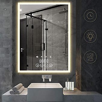 מראה יהירות אמבטיה עם תאורה אחורית, מראה יהירות בגודל 28 אינץ' עם תצוגת זמן וסימולציות סצנה, אור לבן/חם