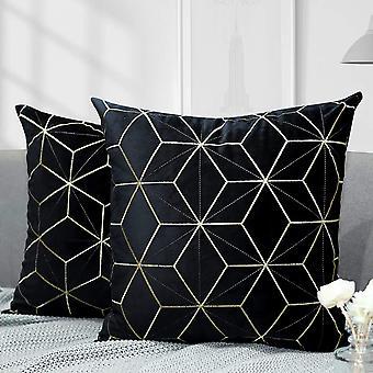 """Kultainen kirjonta sametti heittää tyynyn kansi sametti heittää tyynyliina kultaiset linjat Rhombus 18""""x18""""musta"""