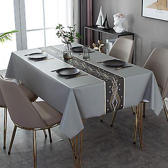 Ölbeständige Pu-Tischdecke, wasserdichte Einweg-Tischdecke, Haushaltsleder Anti-Verbrühung Tischmatte, Grau, 137 80cm