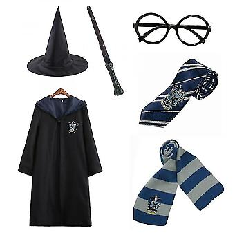Harry Potter 6pc Set Magic Wizard Cosplay Fancy Dress Cape Cloak Kostuum