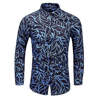 Yunyun Herren Langarm Button Down Loose Casual Bedrucktes Strandhemd
