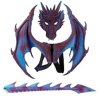 Halloween Drachen Ritter Kinderkleid Up Spielzeug Drachen Flügel Schwanz Maske Set