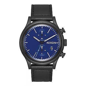 Nixon la stazione Chrono pelle tutto nero / blu (A1163-602)