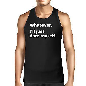 自分の男性ユーモラスなデザイン トップの黒のノースリーブ T シャツを日付します。