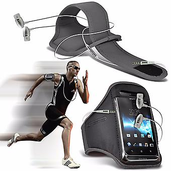 """i-Tronixs Vodafone Smart V8 (5.5"""") - Sports Running Jogging Ridding Bike Cycling Gym Arm Band Case Pouch Cover & Premium Quality Aluminium In Ear Earbud Stereo Hands Free Headphones Earphone Headset with Built in Microphone Mic & On-Off Button - Grey"""
