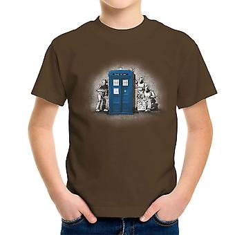 BankCy Doctor Who Tardis Cybermen Street Art Kid's T-Shirt