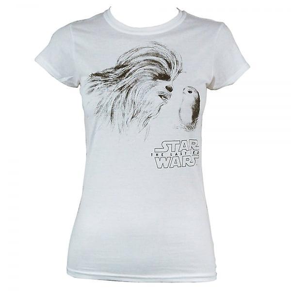 Star Wars Womens o último Jedi Chewie & Porg T-Shirt branca