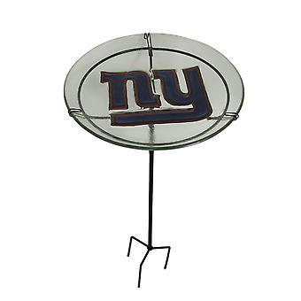 Gigantes de Nueva York de la NFL en relieve vidrio Birdbath jardín juego