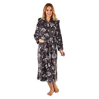 Slenderella GL8746 nők ' s Grey virágos Robe hosszú ujjú öltöző ruha