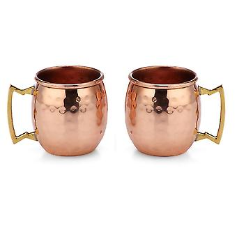 Modern Home Authentic 100% Solid Copper Hammered Moscow Mule Mug 2-Oz Shot Glass - Set of 2