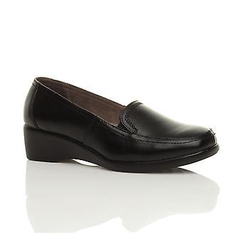 Ajvani kvinners midt lav hæl kile skinn elastisk smart arbeide fleksible eneste loafers sko