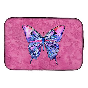 Carolines Treasures  8859DDM Butterfly on Pink Dish Drying Mat