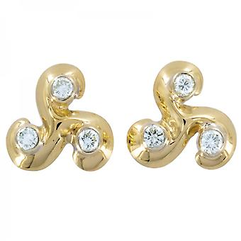 Shipton and Co Ladies Shipton And Co Exclusive 9ct Yellow Gold Brilliant Cut Diamond Tefoil 9pt Earrings EYX119DI