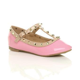 Ajvani meisjes vlakke bezaaid t-bar gesp partij ballerina pompen schoenen