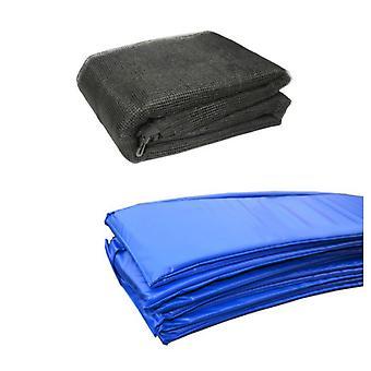 12 ft studsmatta tillbehör pack - blå filtdyna och nät