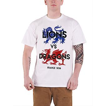 Official Mens England Football T Shirt Lions vs Dragons Vintage new Mens White