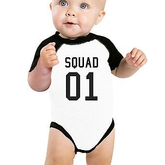 Squad01 Black Baby Baseball Bodysuit Cute Family Raglan Tee For Baby