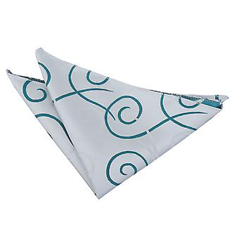 Argento & Teal Scroll Pocket Square